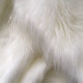 White faux long-pile fur id-31 craft square 30x50cm