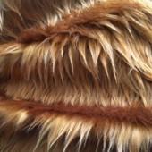 Brown faux long-pile fur ip-273