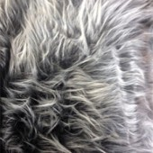 Gray with white tips faux long-pile fur ip-62