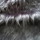 Gray faux long-pile fur ip-74