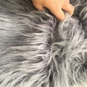 Gray faux long-pile fur id-74 craft square 30x50cm